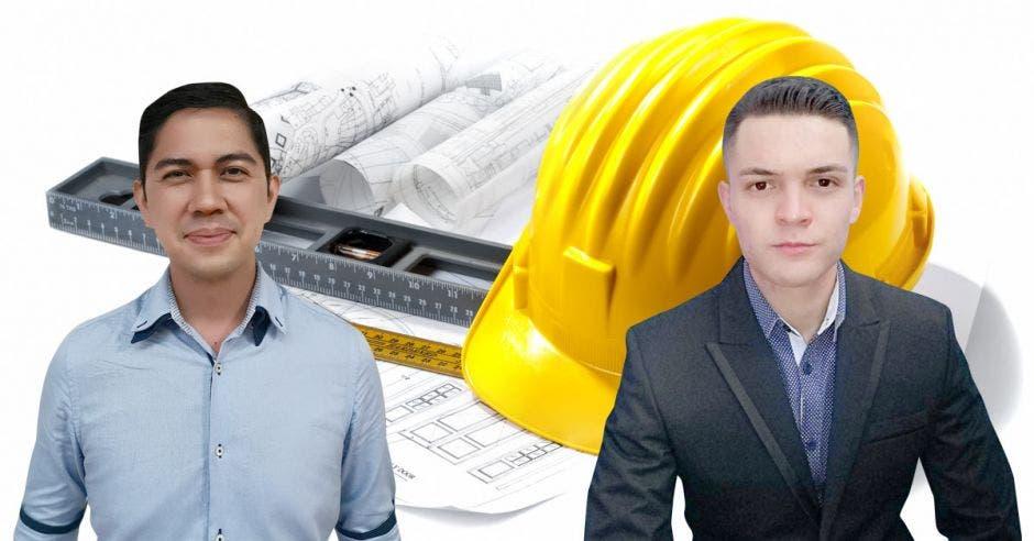 Los ingenieros civiles Stephan Rodríguez y Andrey Bogantes con un arte de fondo de un casco ce construcción y planos