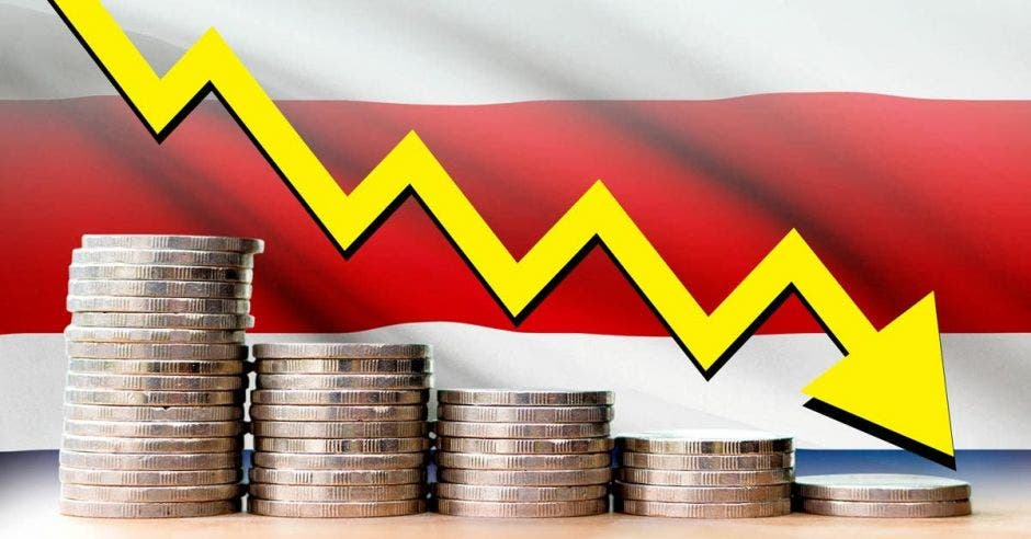 Monedas disminuyendo con flecha y bandera tica de fondo