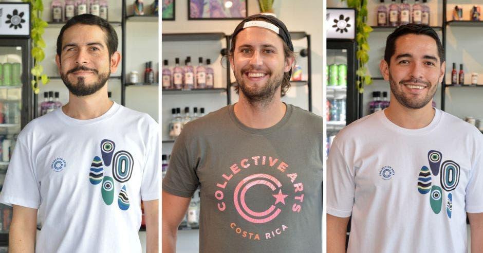 Joseph Víquez, Carlos De Paco y Andrés Prendas, de Collective Arts Brewing.