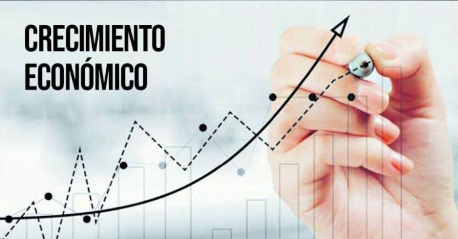 letras que dicen crecimiento económico y una escala dibujada