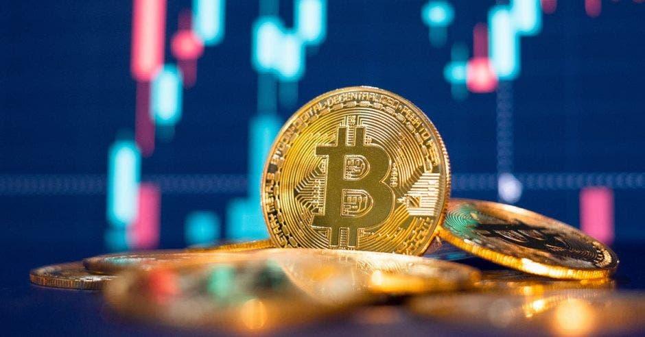 Una moneda de bitcoin sobre un puño de criptomonedas