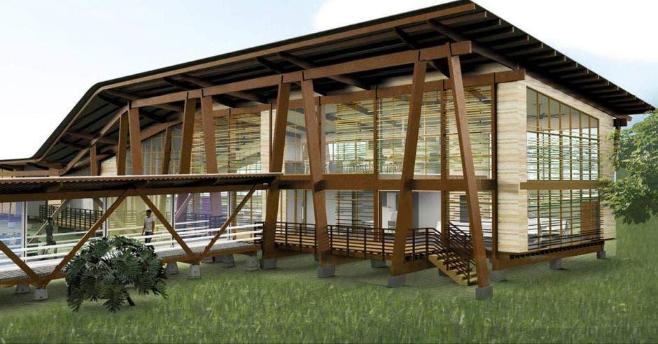 Render que muestra como quedará la terminal con detalles en madera
